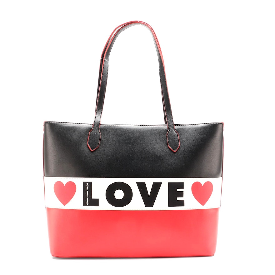 Love Moschino Striped Tote in Vegan Leather