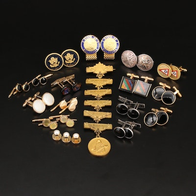Gemstone Jewelry Featuring Gold Filled Cufflinks and Marksman Pin