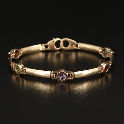 14K Topaz, Garnet, Amethyst and Peridot Bracelet