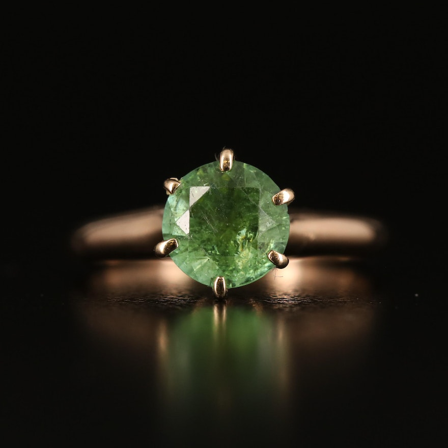 14K Rose Gold Peridot Solitaire Ring