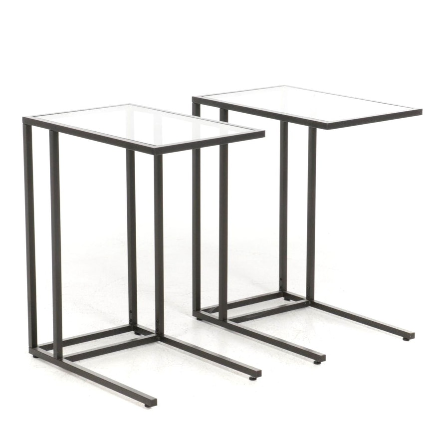 Pair of Modern Metal and Glass Side Tables