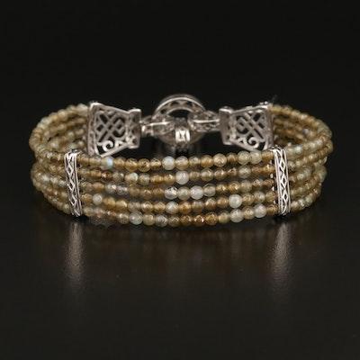 Sterling Silver Multi-Strand Labradorite Bead Bracelet
