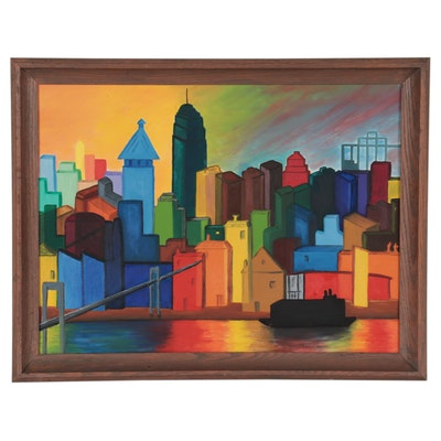 Acrylic Painting of Cityscape, Late 20th Century