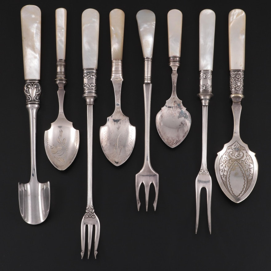 Mother-of-Pearl and Sterling Handled Serving Utensils, Late 19th Century