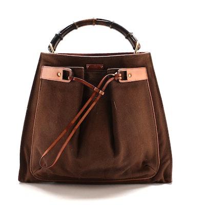 Gucci Bamboo Handled Brown Canvas and Tan Leather Handbag