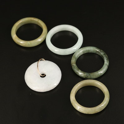 Jadeite Hololith Rings and Bi Disc Pendant with 10K Accent