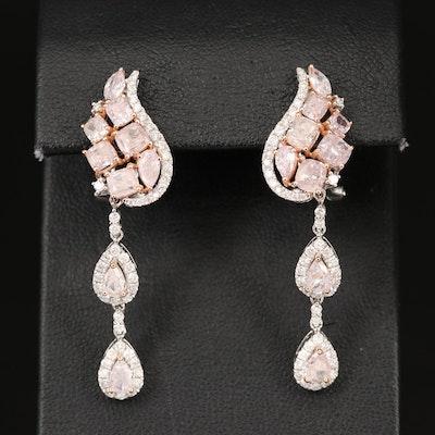 18K 5.64 CTW Diamond Paisley Earrings with GIA Report