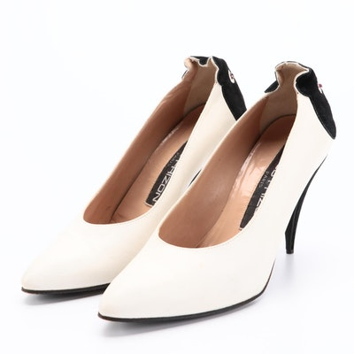Maud Frizon White Leather and Black Suede Pumps with Stylized Face Counters