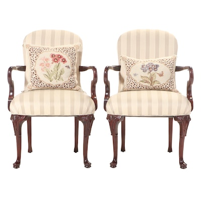 Pair of Queen Anne Style Mahogany Armchairs with Needlepoint Pillows