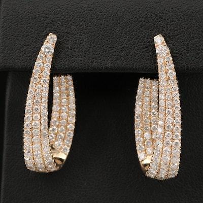 14K 3.69 CTW Diamond Hoop Earrings