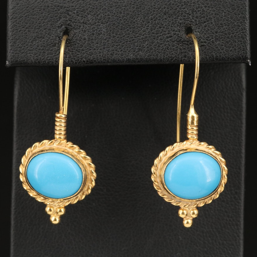 Sterling Silver Faux Turquoise Drop Earrings with Twisted Trim and Granulation