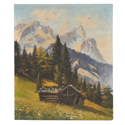 Alpine Cabin Landscape Oil Painting, Early-Mid 20th Century