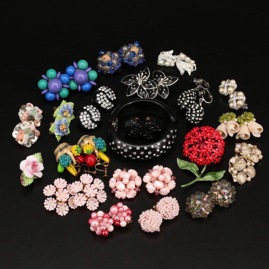 Vintage Jewelry Featuring Swarovski, Thermo Plastic and English China