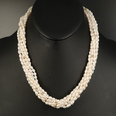 Baroque Pearl Torsade with 18K Clasp and 14K Accent Beads