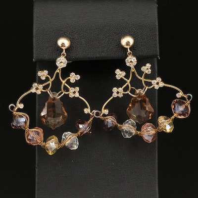 Faceted Glass and Cubic Zirconia Floral Earrings with 14K Components