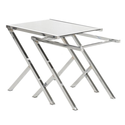 Contemporary Glass Top Metal Nesting Tables