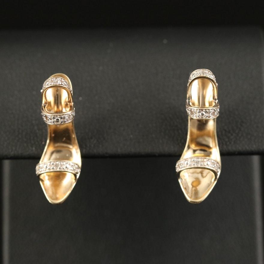 10K Diamond High Heel Stud Earrings