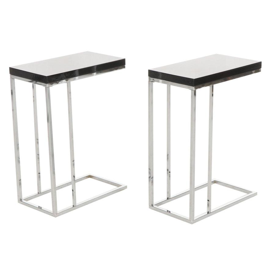 Pair of Modern Metal Frame Side Tables