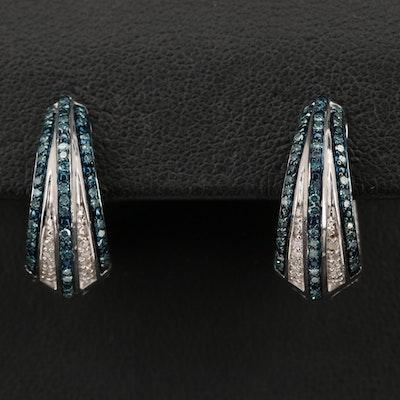 Sterling Silver Diamond Tapered Hoop Earrings