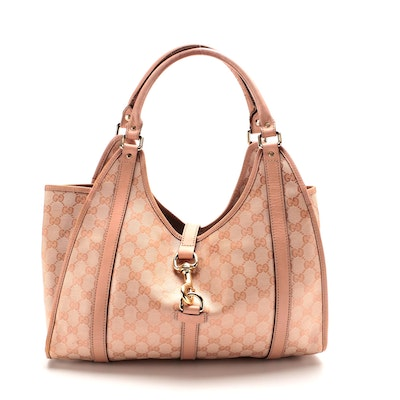 Gucci Joy Medium Shoulder Bag in Pink GG Canvas and Leather