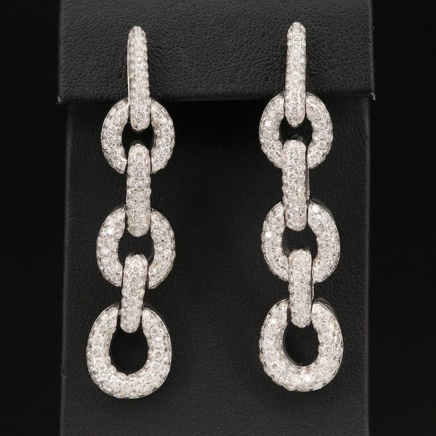 14K 6.55 CTW Diamond Chain Link Drop Earrings