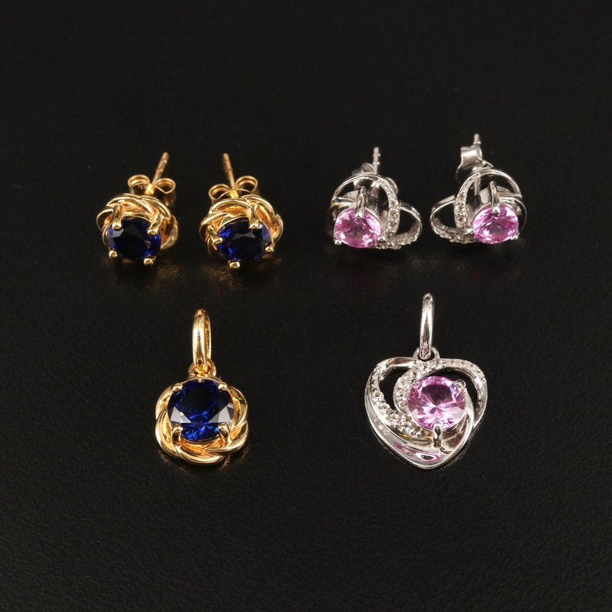Sterling Earring and Pendant Sets Including Topaz and Sapphire