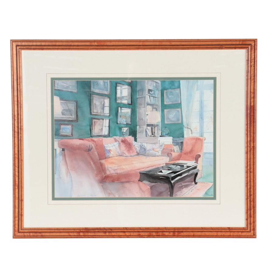 Offset Lithograph after André Olsufiev of Living Room, Late 20th-21st Century