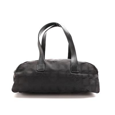 Chanel Travel Line Black Nylon Jacquard Shoulder Bag