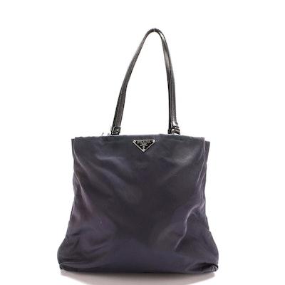 Prada Navy Tessuto Nylon Tote Bag with Black Leather Trim
