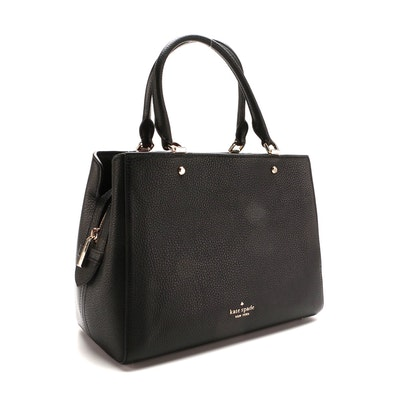 Kate Spade Leila Medium Triple Compartment Satchel in Black Grained Leather