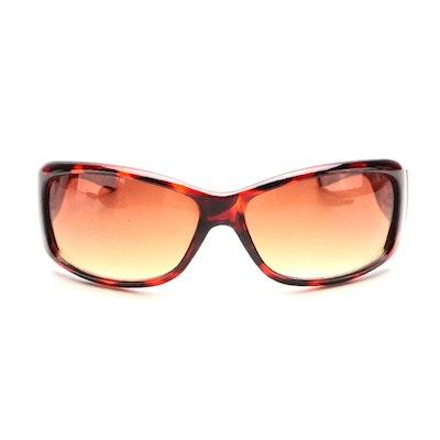 Faux Tortoiseshell Wrap Sunglasses with Roberto Cavalli Case
