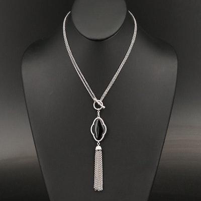 Sterling Silver Black Onyx Tassel Pendant Necklace