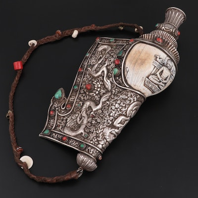 Tibetan 800 Silver Mounted Conch Shell Shankha with Coral and Turquoise, 19th C.