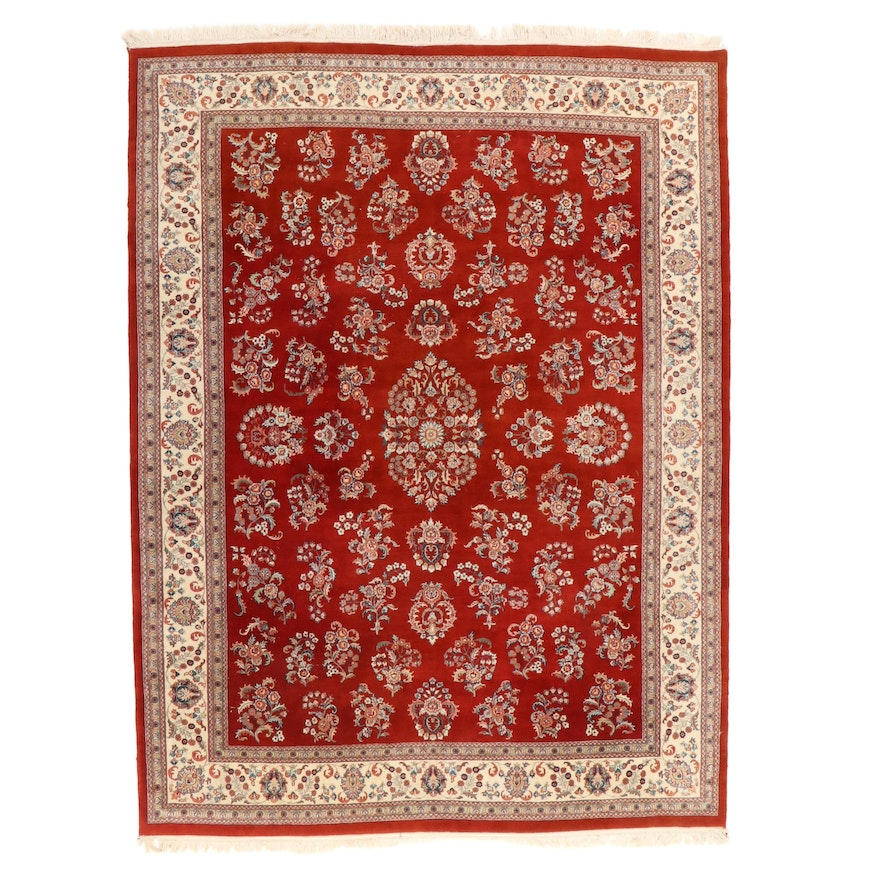 9' x 12'4 Hand-Knotted Indo-Persian Kerman Room Sized Rug