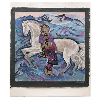 """Zhou Ling Serigraph """"White Horse,"""" Late 20th-21st Century"""