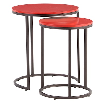 Two Target Modernist Style Metal and Engineered Wood Nesting Tables