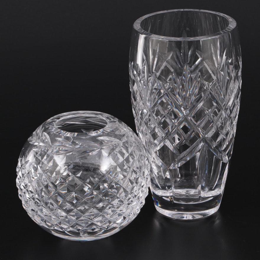 "Waterford Crystal ""Glandore"" Rose Bowl and ""Nocturne"" Vase"