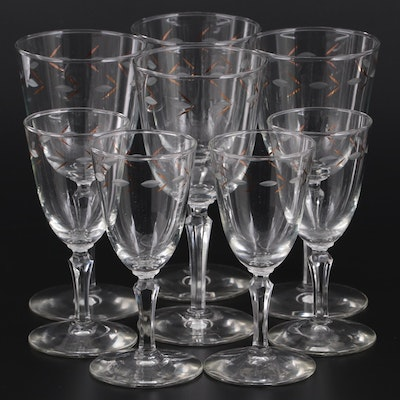 Leaf Etched Border with Gilt Accents Wine and Liqueur Glasses, Mid-Late 20th C.