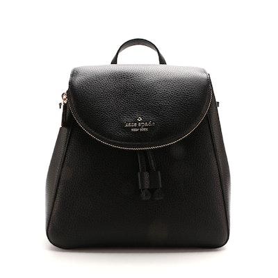 Kate Spade Leila Medium Backpack in Black Pebbled Leather