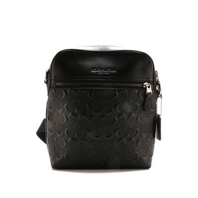 Coach Houston Flight Crossbody Bag in Black Embossed Signature Leather