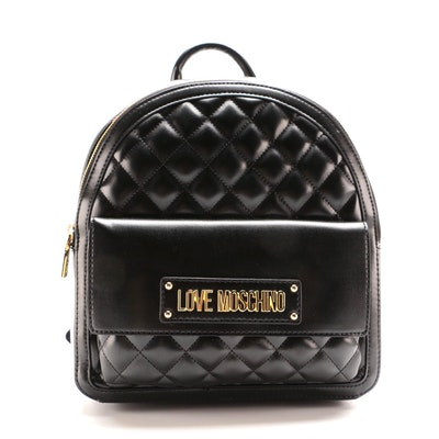 Love Moschino Quilted Logo Backpack in Black Vegan Leather