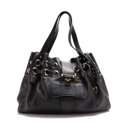 Jimmy Choo Gathered Ramona Bag in Black Leather