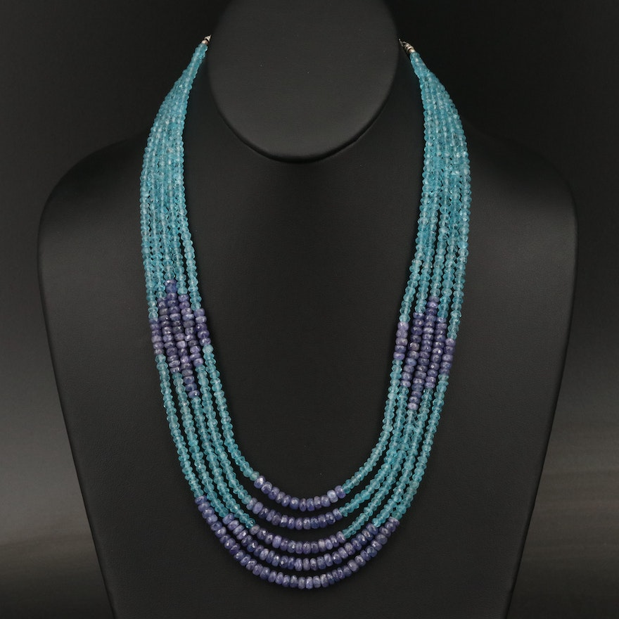 Mulit-Strand Tanzanite and Apatite Beaded Necklace with 900 Silver Clasp