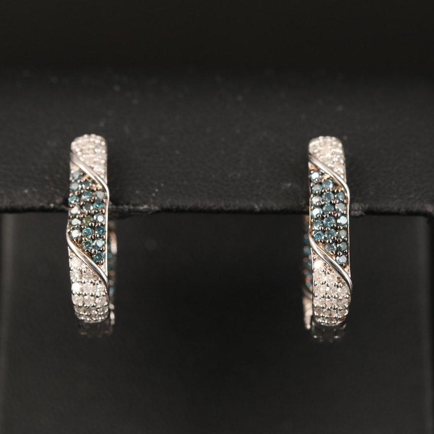 Sterling Diamond Squared Inside-Out Hoop Earrings