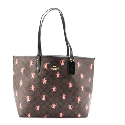 Coach City Reversible Tote in Party Mouse Signature Canvas and Black Leather