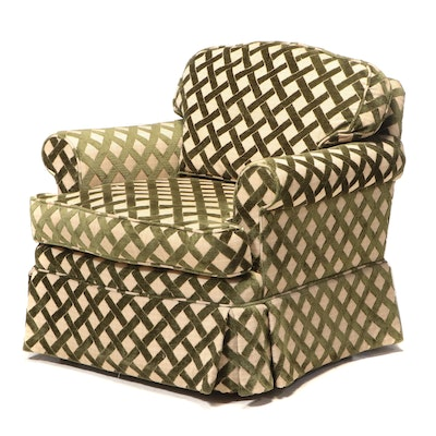 Pearson Green and Tan Woven Lattice Upholstered Lounge Chair