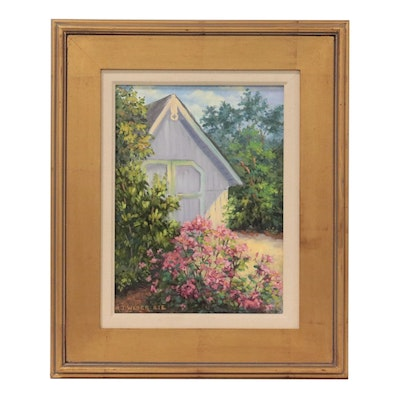 """Mary Jean Weber Oil Painting """"The Garden Shed,"""" 2006"""