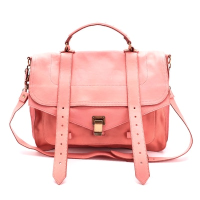 Proenza Schouler Neon Coral Leather Two-Way Messenger Bag