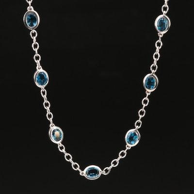Sterling London Blue Topaz Station Necklace