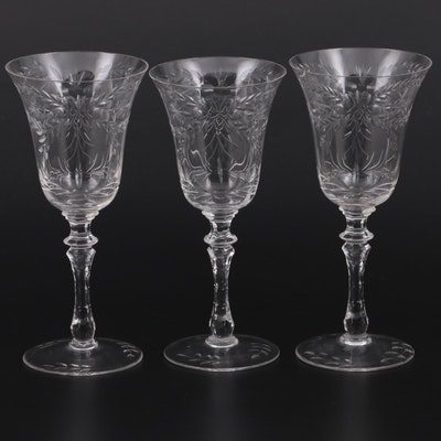 Etched Floral Swags Glass Goblets, Mid-20th Century